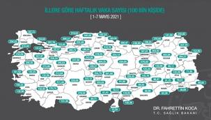 Bakan Koca, illere göre her 100 bin kişide görülen Kovid-19 vaka sayılarını açıkladı