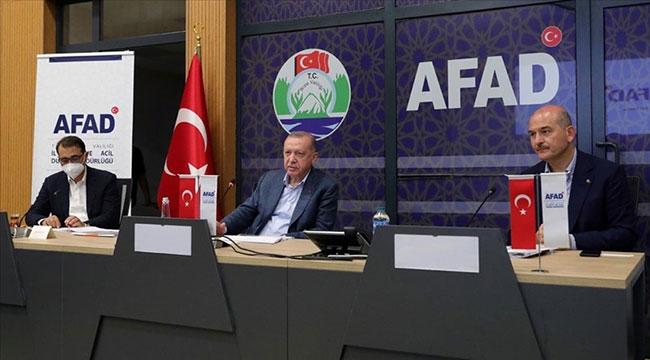 Cumhurbaşkanı Erdoğan, sel felaketindeki son duruma ilişkin yetkililerden bilgi aldı