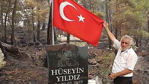 Alevler Şehit Hüseyin Yıldız'ın mezarına 1 metre kala söndü